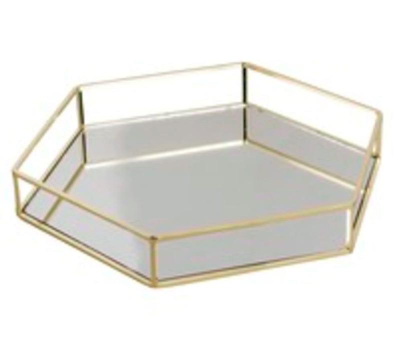 Bandeja espejo metálica hexagonal