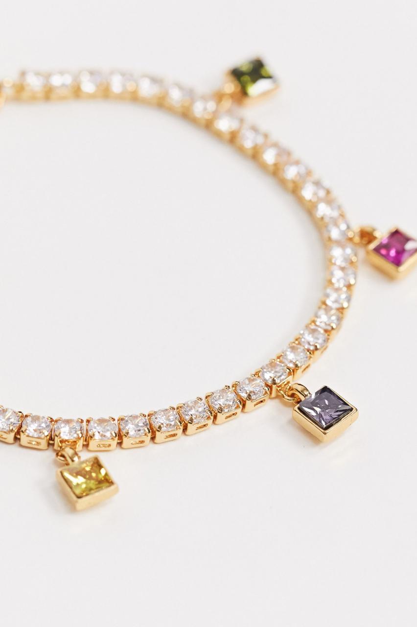 Pulsera chapada en oro con cristales de circonita y colgantes arcoíris de ASOS DESIGN