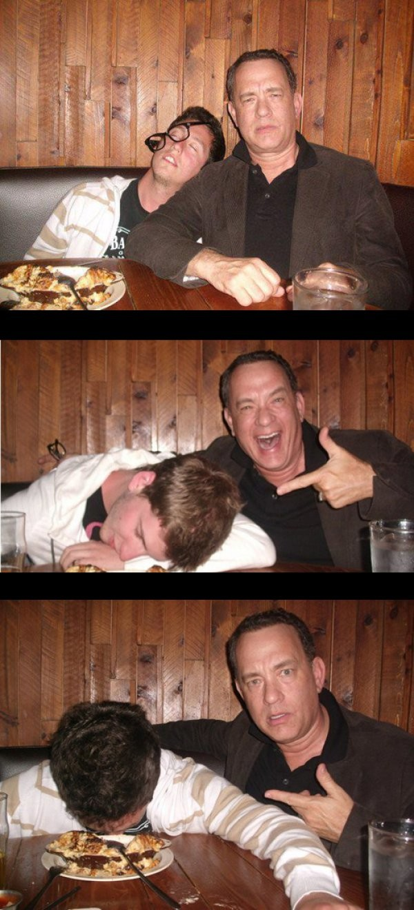Tom Hanks con un fan
