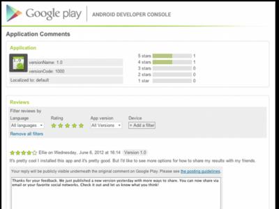 Google Play permitirá a los desarrolladores de aplicaciones responder a los comentarios de los usuarios