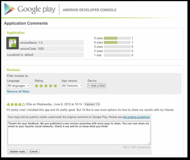 Responder comentarios del Google Play