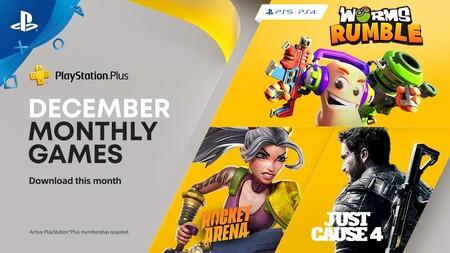 Worms Rumble, Just Cause 4 y Rocket Arena entre los juegos de PlayStation Plus de diciembre de 2020