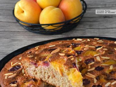 Cake de albaricoques y cerezas con buttermilk a la lavanda. Receta dulce de verano