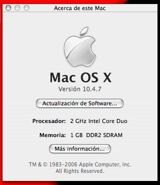 MacOS X 10.4.7, más cerca de Leopard