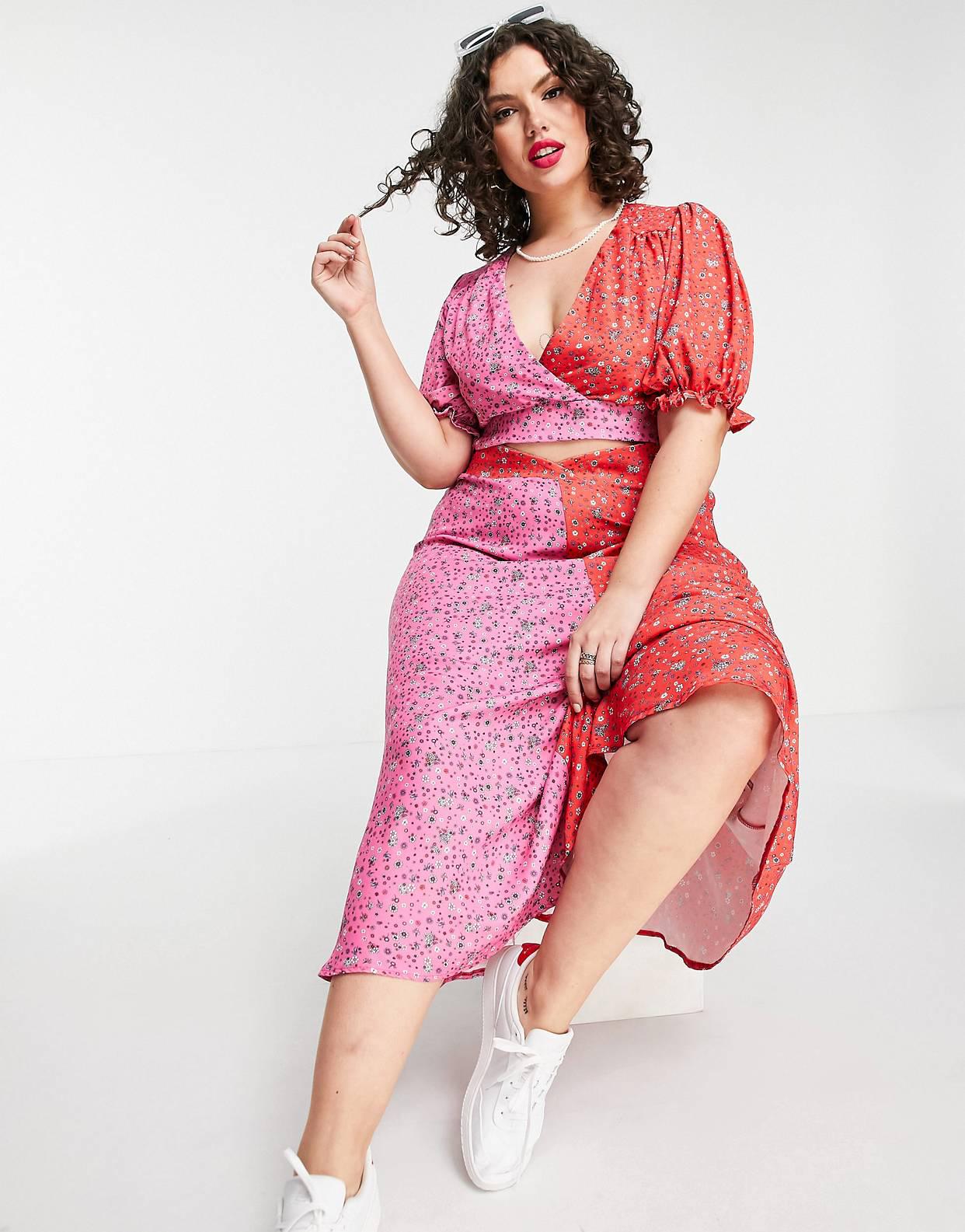 Falda con estampado floral tipo patchwork