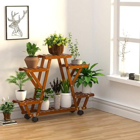 Soporte de bambú para macetas