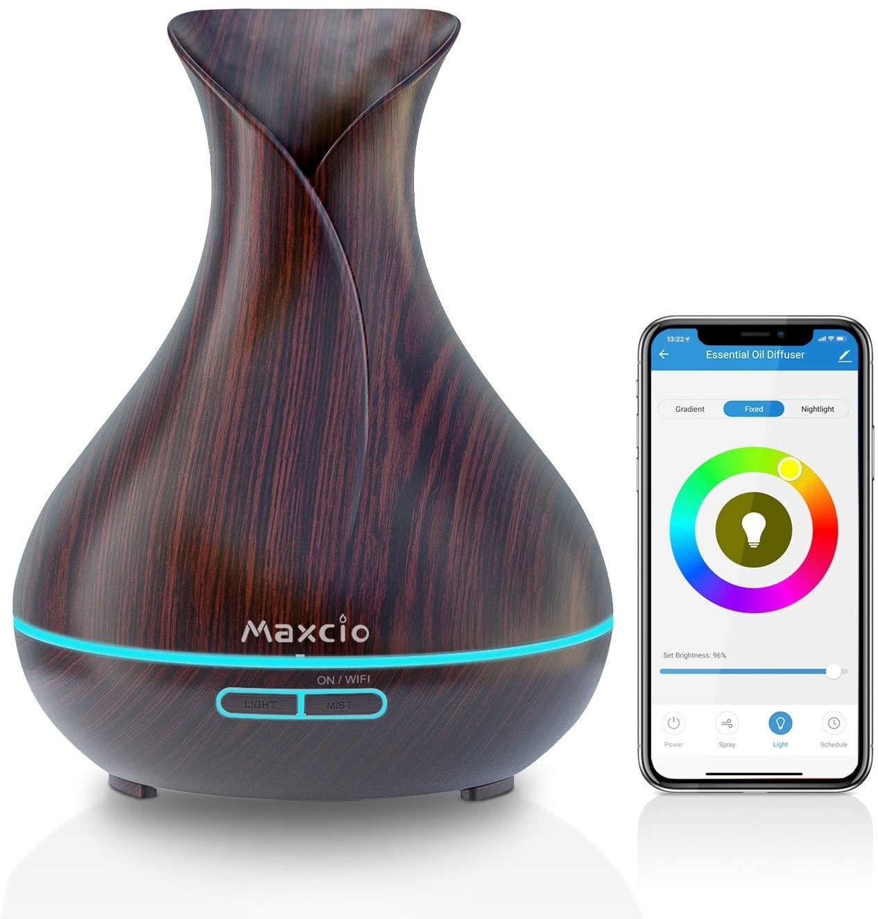 WiFi Difusor Aromaterapia Alexa, Maxcio Humidificador Ultrasónico Aceites Esenciales 400ml 7-Color LED 2 Modos de Nieble Controlable por Vía Wifi y Voz Compatible Con Amazon Alexa y Google Home