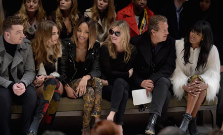 Sam Smith, Cara Delevingne, Jourdan Dunn, Kate Moss, Mario Testino And Naomi Campbell On The Front Row At The Burberry Womenswear Autumn Winter 2015 Show