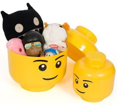 Cajas almacenaje con forma de cabezas de lego