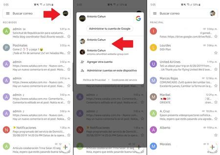 Gmail Cambiar Cuentas Android Ios Gesto