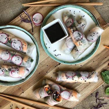 Rollitos de verduras y langostinos: receta fácil, saludable y deliciosa con vídeo incluido