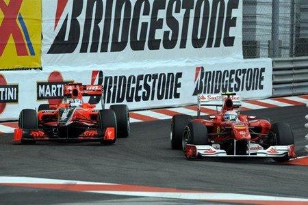 Fernando Alonso en acción en el GP de Mónaco 2010