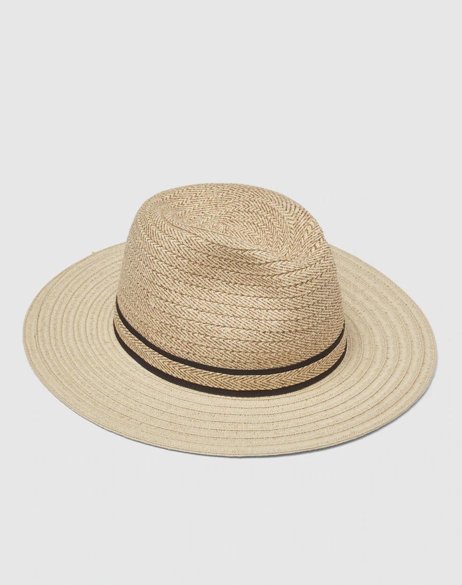 Sombrero panamá de mujer Donatzelli de paja en natural con franjas negras
