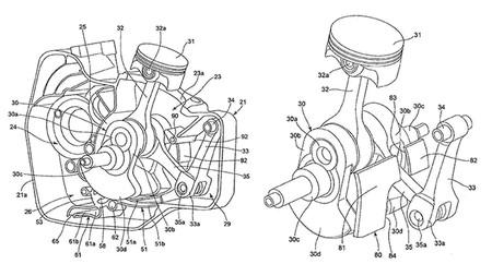 Raro pero con sentido: Suzuki ha patentado un motor monocilíndrico con una biela fantasma