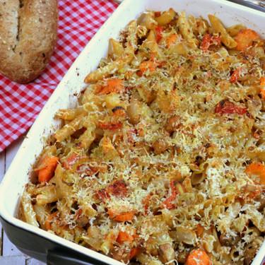 Pasta integral con verduras, receta vegetariana