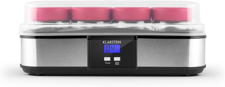 Klarstein Gaia - Yogurtera 12 vasos, maquina para hacer yogur casero, 2,5L volumen, 12 frascos individuales de 210ml, cierre rosca, pantalla LCD retroiluminada, acero inoxidable, negro