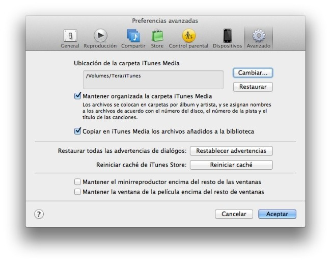 iTunes preferencias