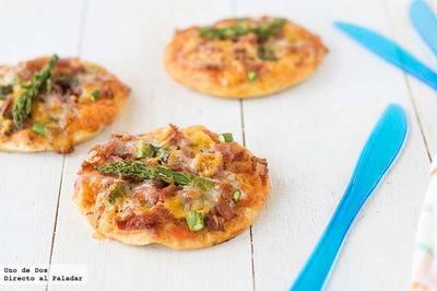 Mini pizzas de jamón y trigueros. Receta