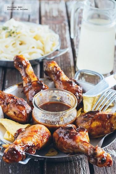 Pollo BBQ glaseado con mostaza y miel. Receta