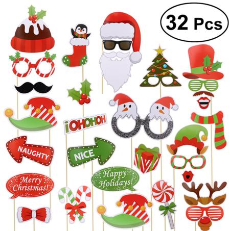 Accesorios Photocall Navidad Bodas Cumpleanos Oulii 32 Piezas Gorros Mascara Gafas Disfraz Navidad