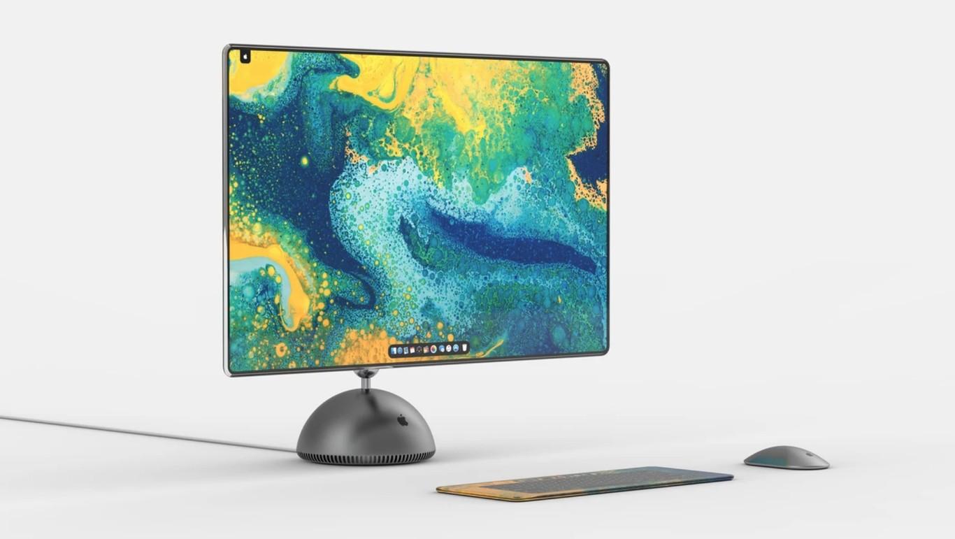 Un diseñador imagina cómo sería el iMac G4 en 2019: pantalla OLED sin bordes, teclado táctil y cuerpo metálico