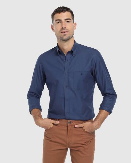 Camisa de hombre classic lisa azul