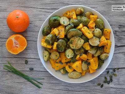 Coles de bruselas y calabaza asadas a la sidra con mandarina. Receta saludable
