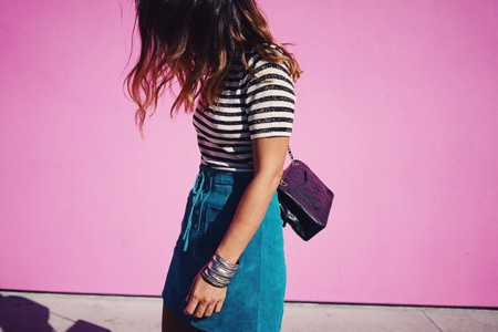 Pink Wall Los Angeles La Suede Skirt Striped Top Sneakers Sandro Outfit Travels 1 790x527