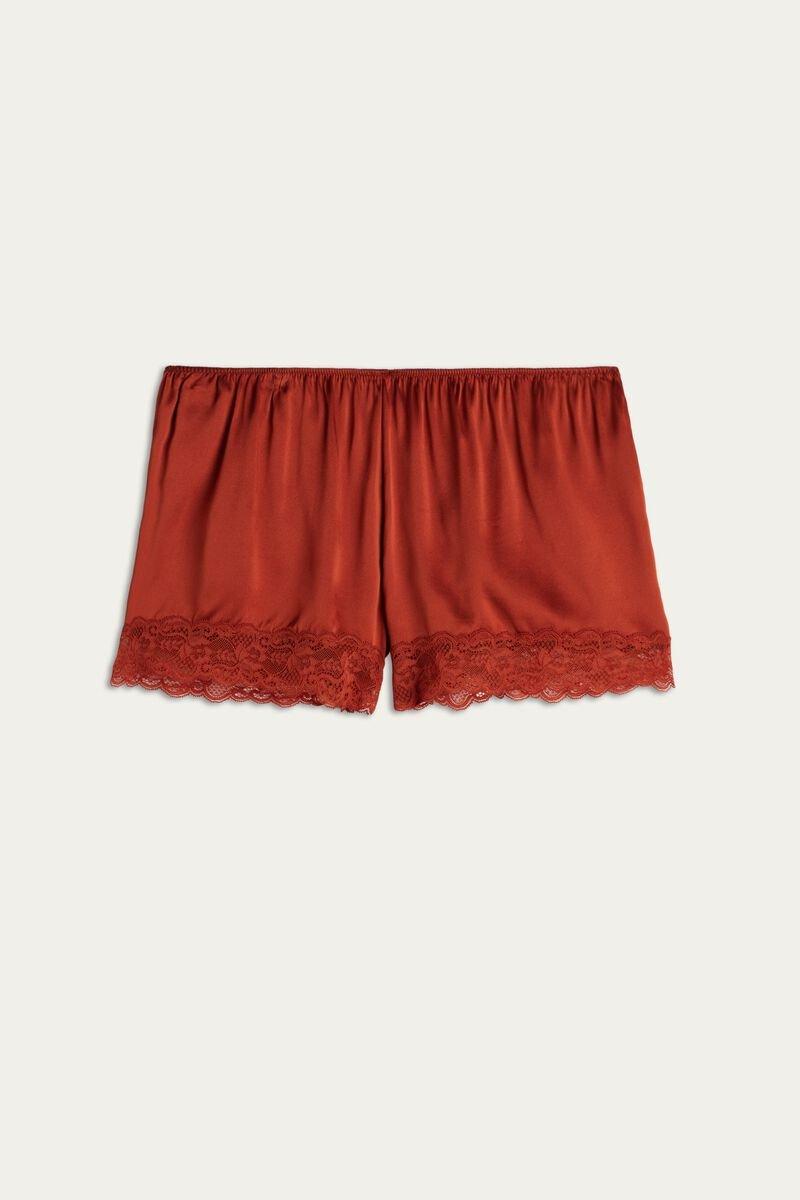 Pantalón de seda y encaje