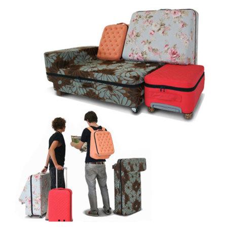 Juego de maletas que se convierten en un sofá