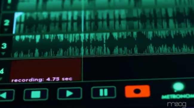 Detalle del grabador de cuatro pistas de Animoog