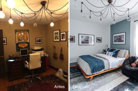 Antes y después: de viejo y oscuro despacho, a dormitorio lleno de luz con zona de estudio o trabajo