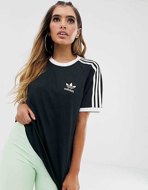 Camiseta negra con tres rayas adicolour de adidas Originals