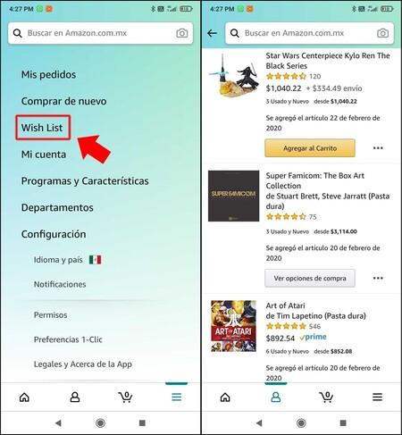 Agregar productos a la lista de deseos de Amazon