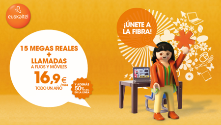 50% de descuento en el Dúo de 15 Mb de Euskaltel