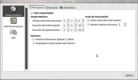 Una pantalla de configuración Work Rave