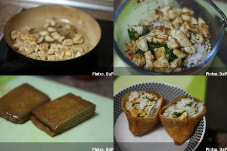 Saquitos de soja rellenos de arroz y pollo. Pasos