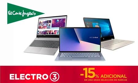 Hasta esta medianoche puedes estrenar uno de estos 9 portátiles de ASUS, Lenovo, LG o MSI ahorrando un 15% extra en el Electro 3 de El Corte Inglés
