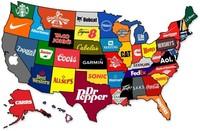El mapa de Estados Unidos según sus principales marcas