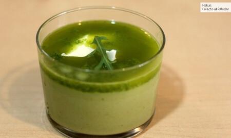 Crema de verduras, con queso mascarpone y rúcula. Receta