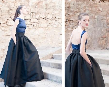 vestido azul y negro cristina tamborero