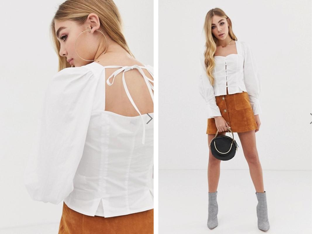 Blusa de manga larga de botones con frunce en los hombros en blanco de PrettyLittleThing