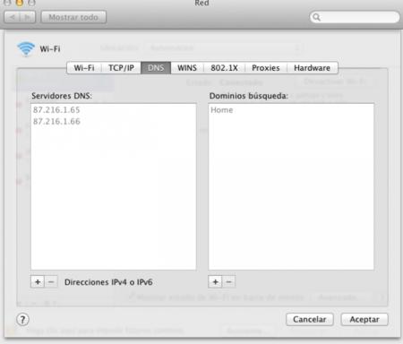 Cambiar DNS en OS X
