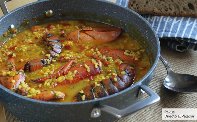 Arroz caldoso con bogavante, receta para celebraciones