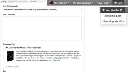 Wordpress incorpora su propia función de 'reblog'