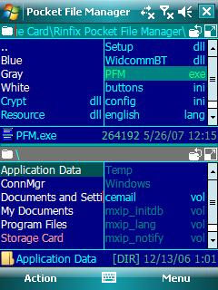 Pocket File Manager, gestor de ficheros a la Norton Commander