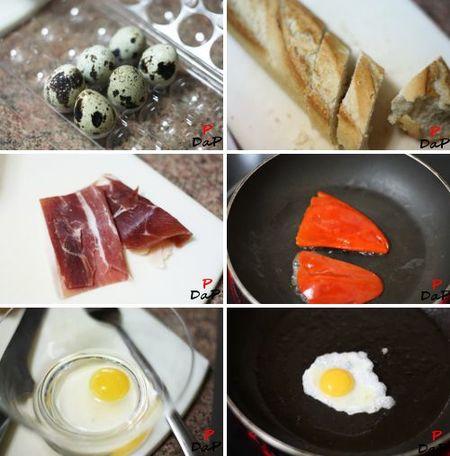 Preparación del montadito de piquillo, ibérico y huevo de codorniz