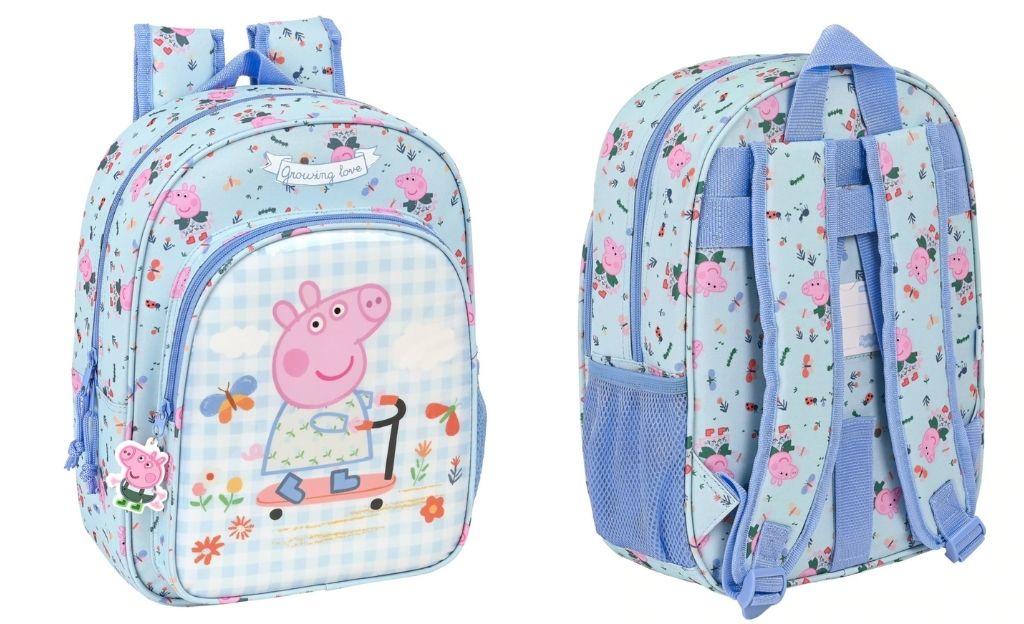 Mochila Infantil Adaptable a Carro Peppa Pig Safta Azul Claro y Multicolor