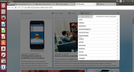 Opera Developer 24.0 para GNU/Linux, función Discover