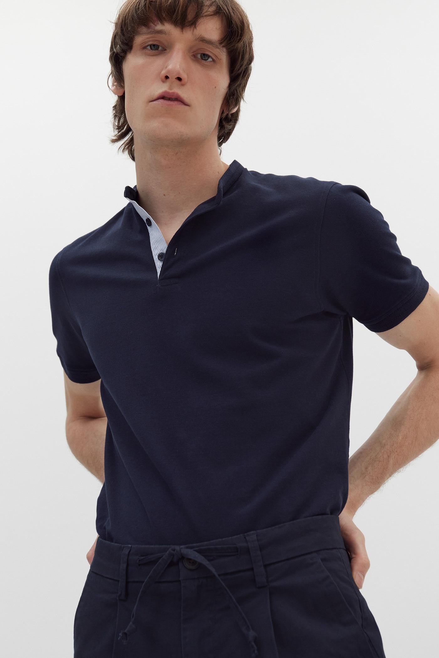 Camiseta polo cuello mao